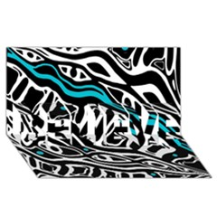 Blue, black and white abstract art BELIEVE 3D Greeting Card (8x4)