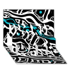 Blue, black and white abstract art WORK HARD 3D Greeting Card (7x5)