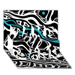 Blue, black and white abstract art TAKE CARE 3D Greeting Card (7x5)