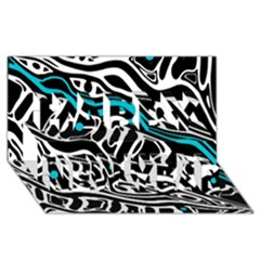 Blue, black and white abstract art Happy New Year 3D Greeting Card (8x4)