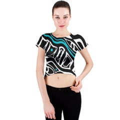 Blue, black and white abstract art Crew Neck Crop Top
