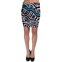 Blue, black and white abstract art Bodycon Skirt