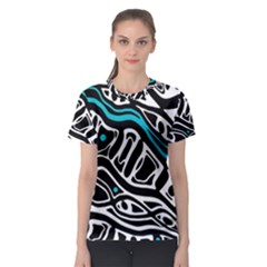 Blue, black and white abstract art Women s Sport Mesh Tee