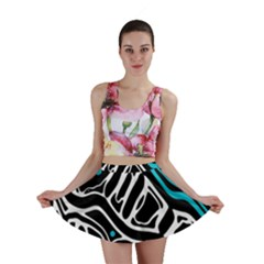 Blue, black and white abstract art Mini Skirt