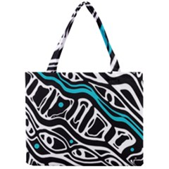 Blue, black and white abstract art Mini Tote Bag