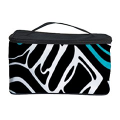 Blue, black and white abstract art Cosmetic Storage Case