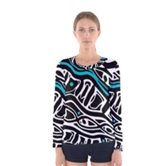 Blue, black and white abstract art Women s Long Sleeve Tee