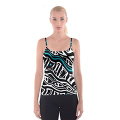 Blue, black and white abstract art Spaghetti Strap Top