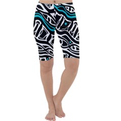 Blue, black and white abstract art Cropped Leggings
