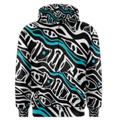 Blue, black and white abstract art Men s Zipper Hoodie