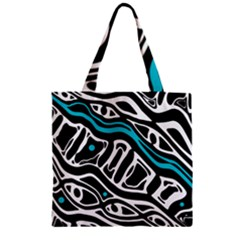 Blue, black and white abstract art Zipper Grocery Tote Bag