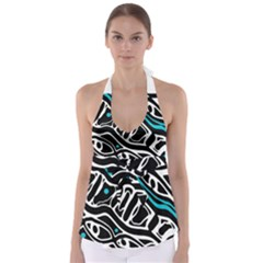 Blue, black and white abstract art Babydoll Tankini Top