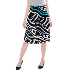 Blue, black and white abstract art Midi Beach Skirt
