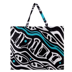 Blue, black and white abstract art Zipper Large Tote Bag