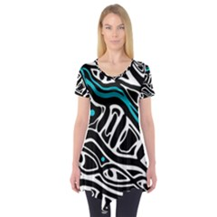 Blue, black and white abstract art Short Sleeve Tunic