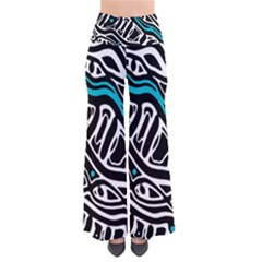 Blue, black and white abstract art Pants