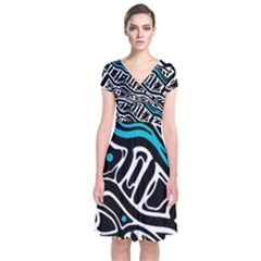 Blue, Black And White Abstract Art Short Sleeve Front Wrap Dress