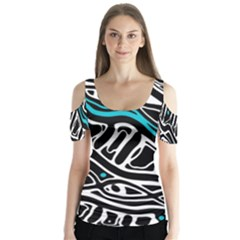 Blue, Black And White Abstract Art Butterfly Sleeve Cutout Tee