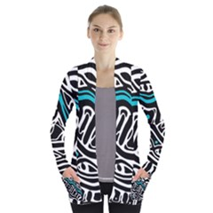 Blue, black and white abstract art Women s Open Front Pockets Cardigan(P194)