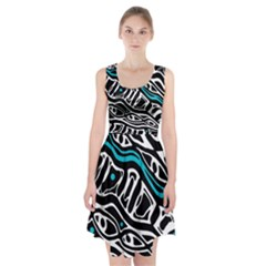 Blue, black and white abstract art Racerback Midi Dress
