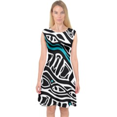 Blue, black and white abstract art Capsleeve Midi Dress