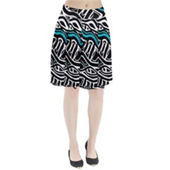 Blue, black and white abstract art Pleated Skirt