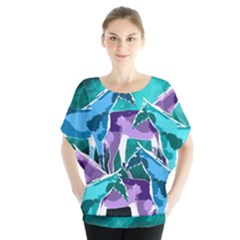 Horses under a galaxy Batwing Chiffon Blouse