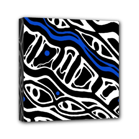 Deep blue, black and white abstract art Mini Canvas 6  x 6