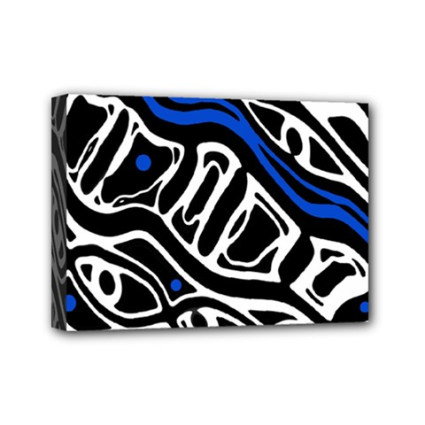 Deep blue, black and white abstract art Mini Canvas 7  x 5