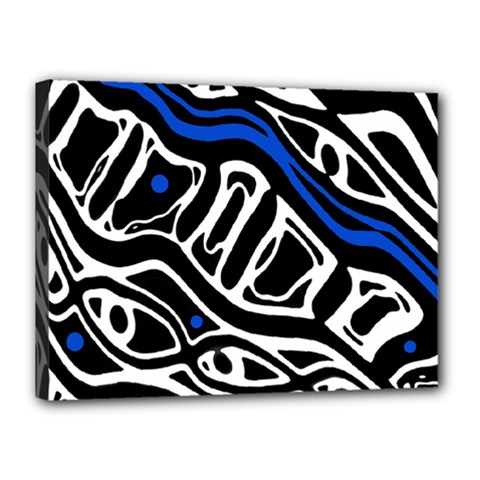 Deep blue, black and white abstract art Canvas 16  x 12