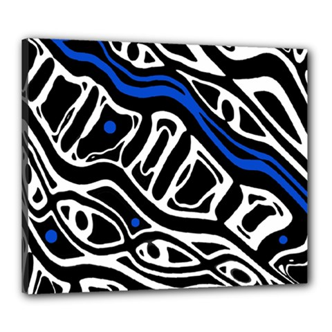 Deep blue, black and white abstract art Canvas 24  x 20