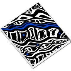 Deep blue, black and white abstract art Small Memo Pads