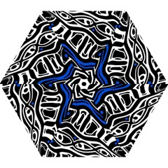 Deep blue, black and white abstract art Mini Folding Umbrellas