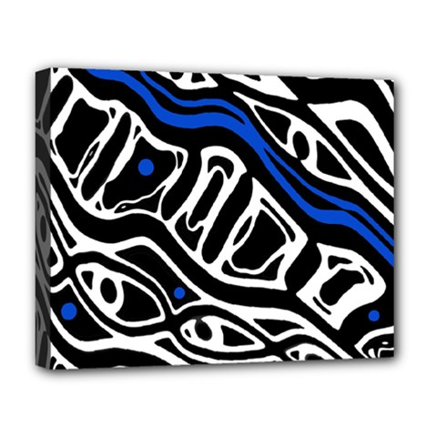 Deep blue, black and white abstract art Deluxe Canvas 20  x 16