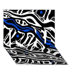 Deep blue, black and white abstract art I Love You 3D Greeting Card (7x5)