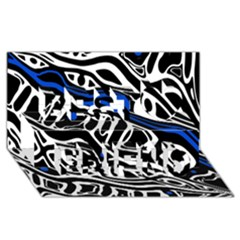 Deep blue, black and white abstract art Best Friends 3D Greeting Card (8x4)