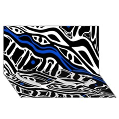 Deep blue, black and white abstract art Twin Heart Bottom 3D Greeting Card (8x4)