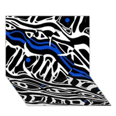 Deep blue, black and white abstract art Clover 3D Greeting Card (7x5)