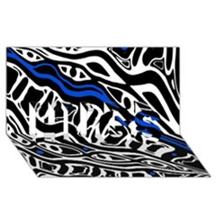 Deep blue, black and white abstract art HUGS 3D Greeting Card (8x4)