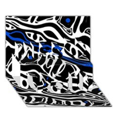 Deep blue, black and white abstract art Miss You 3D Greeting Card (7x5)