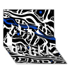Deep blue, black and white abstract art Get Well 3D Greeting Card (7x5)