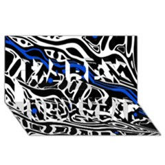 Deep blue, black and white abstract art Happy New Year 3D Greeting Card (8x4)