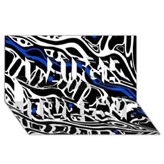 Deep blue, black and white abstract art Laugh Live Love 3D Greeting Card (8x4)