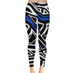 Deep blue, black and white abstract art Leggings