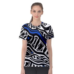 Deep blue, black and white abstract art Women s Sport Mesh Tee
