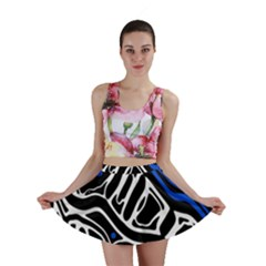 Deep blue, black and white abstract art Mini Skirt