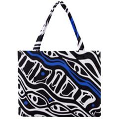 Deep blue, black and white abstract art Mini Tote Bag
