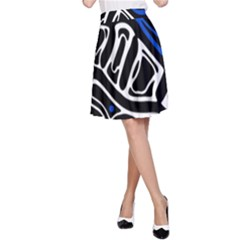 Deep blue, black and white abstract art A-Line Skirt
