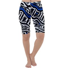 Deep blue, black and white abstract art Cropped Leggings