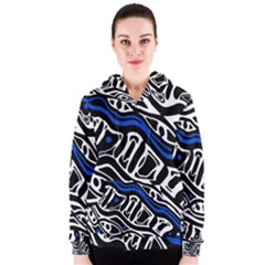 Deep blue, black and white abstract art Women s Zipper Hoodie